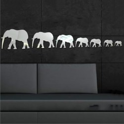 1set/7pcs Elephant Acrlic Silver Mirror Wall Sticker Modern Home Decoration DIY