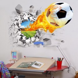 3D Football Wall Stickers Background Decor Removable Stickers Bedroom Sticker
