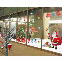 2pcs Window Merry Christmas Gift Xmas Tree Santa Claus Decor Wall Sticker Decals