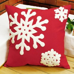 Fashion Christmas Snowflake Series Throw Cotton Pillow Case Home Square Red New