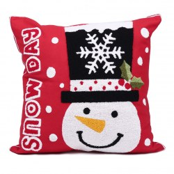Christmas Snowman Style Cotton Pillow Cover Pillowcase for Home Decorations Red