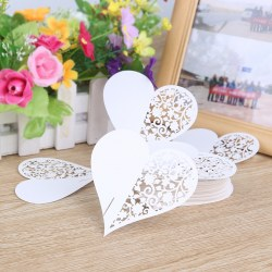 100pcs Wine Cup Glass Hollow White Heart-shaped Cards Wedding Party Cards