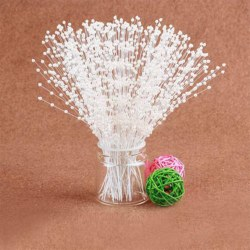 100pcs Bridal Pearl Spray White Beads on Wire Stems Wedding Bouquets Craft White