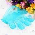 Cute Palm Pattern Pet Dog Bath Massage Brush Comb Rubber Blue / Pink