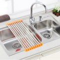 Sink Rack Roll Stainless Steel Silicone Handy Portable Folding Drain Rack
