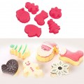6pcs/set New Fashion Cute Silicon Christmas Romantic Cake Fondant Mold Mould Red
