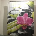 Red Flower Bamboo Stone Family Bathroom Shower Curtain Simple Polyester Ring