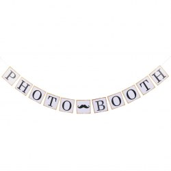 """PHOTO BOOTH"" Wedding Birthday Party Decorations Photo Props Bunting Banners"