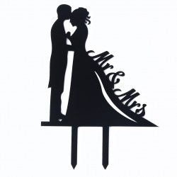 1 Pcs Black Romantic Cake Topper Kissing Couple Bride and Groom Cake decor