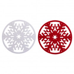 2 pcs New Cute Xmas Snowflake Drinks Cup Holder Mat Non-woven Coasters 2 Colors