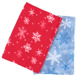 2pcs Fashion Cute Christmas Snow flakes Design Placemat 13 x 18 inch Red & Blue
