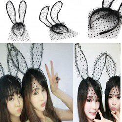1 Pcs Woman Halloween Party Tire Sexy Lace Veil Cute Rabbit Ear Headband Black