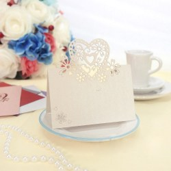 Love Heart  50pcs Cut Table Name Place Cards Wedding Party Favor Decor