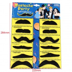 12pcs 6 Styles Self Adhesive Fake Moustache Stylish For Costume Holiday Party