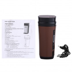USB Coffee Cup Rechargeable Powered Coffee Mug Warmer Automatic Stirring Brown