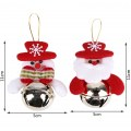 2pcs Christmas Jingle Bell Pattern Round Cute Xmas Tree Decoration Hanging Bells