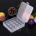 New Portable Durable Plastic Transparent Battery Case Holder Storage Boxs White