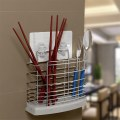 Stainless Steel Tableware Tube Cage Rack Drain Chopsticks Spoon Holder Silver