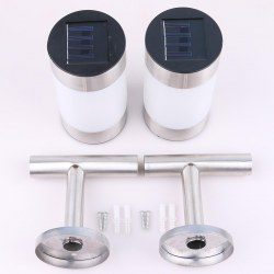 2 pcs wall mounted Stainless Steel LED Solar Landscape Path Lights Garden Light