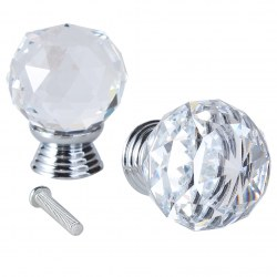 30mm Crystal Glass Cabinet Knob Diamond Shape Drawer Cupboard Handle Pull  2 pcs