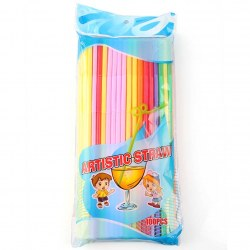 100pcs Colorful Art Straws Fruit Summer Party Colorful Cocktail Drink Straw Fun