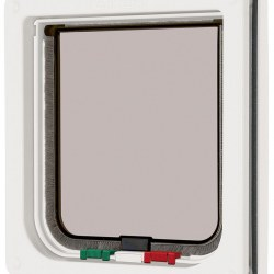 New Medium Large White Brown 4-Way Magnetic Lockable Pet Cat Dog Safe Flap Door