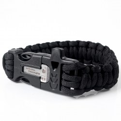"7.5"" Survival Paracord Bracelet w/ Flint Fire Starter Buckle Scraper Whistle Kit"