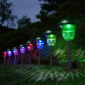 1 set of 4 Plastic Garden LED Color-Changing Solar Lawn Lights Pathway Outdoor
