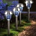 Pack of 4 White Solar Stainless Steel Lawn Light Pathway Garden Lamp