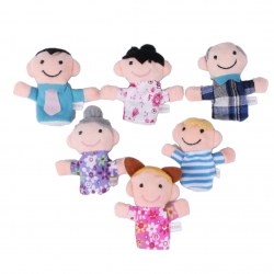 6 pcs Colorful Family Finger Puppets Play Game Tell Story Flannel Cloth Baby Kid