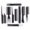 10pcs Professional Black Combs Hairdressing Hair Salon Styling Barbers Kit