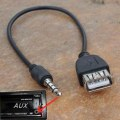 3.5mm Car Aux USB Audio Cable Trainborn MP3 Adapter Cable USB Flash Drive Black