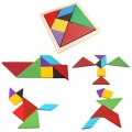 Hot 7 Tangram Wooden Jigsaw Puzzle I.Q. Brain Games Kids Intelligent Toys Gift