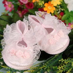 Cute Baby Girl Mary Janes Infant Toddler Flower Dot Soft Sole Crib Velcro Shoes