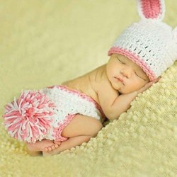 Lovely White Rabbit Newborn Baby Photo Photography Prop Clothes Cute Hat Costume
