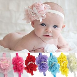 5PCS/Set Baby Girls Rose with Pearl Decor Headband Lovely Hair  Clip Headwear