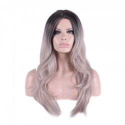 Hot Long Natural Straight Silver Grey Heat Resistant Fiber Hair Wigs For Women