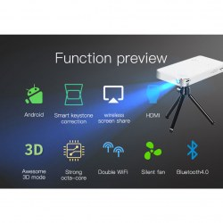 Portable Mobile Smart 1080P Ultra HD T18 Projector (RK3128) White + Silver Color
