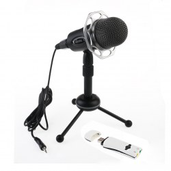 Y20 Professional Condenser Studio Microphone PC Laptop Stereo with Sound Card
