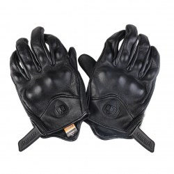 Fashion Portable Moto Gloves Real Leather Full Finger Black Motorcycle Gloves