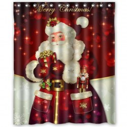 150 * 180CM 3D Red Robe Santa Claus Waterproof Bathroom Fabric Shower Curtain