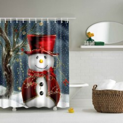 180*180cm 3D Christmas Snowman Waterproof Bathroom Fabric Shower Curtain Decor