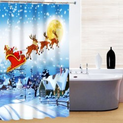 1.8*1.8 Christmas elk Waterproof Bathroom Fabric Shower Curtain With 12 Hook