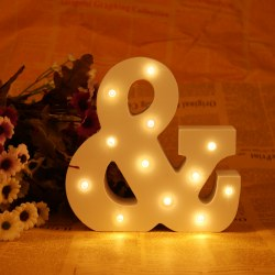 & Style Wood LED Marquee Letter Alphabet Symbol Sign Vintage Circus Lights White