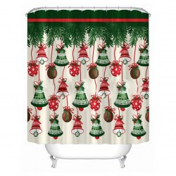 180cm Christmas Bells Waterproof Polyester Shower Curtain Bathroom Decor 12 Hook