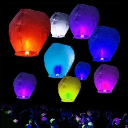 10 Paper Chinese Lanterns Wishing Hole Lights for Wish Party Wedding 2 Colors