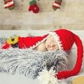 Hot Crochet Christmas Santa Costume Cape with Hat Newborn Baby Photography Props