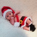 Newborn Baby Christmas Santa Knitted Crochet Costume Photo Photography Prop New