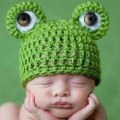 Fashion Cute Newborn Baby Girl Boy Knit Crochet Frog Style Hat Photo Prop Green