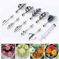 3D Gelatin Art Tools Set Jelly Cake Flower Tools Stainless Steel Silver (10pcs )
